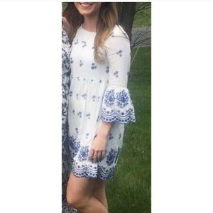 With A Whisper Blue and Ivory Embroidered Dress